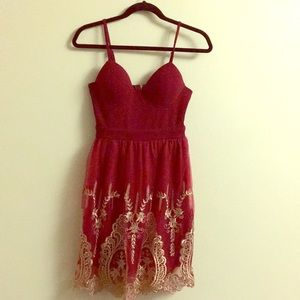 Red and gold lace dress from Papaya